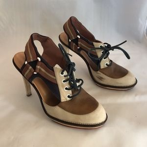 Derek Lam Lace Up Heel Brown/Navy - 39.5